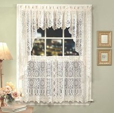 Hopewell Lace Kitchen Curtain   White Or Cream   Tiers, Swags, Valances    NEW
