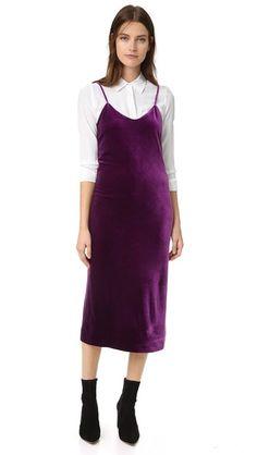 Rebecca Minkoff Yoshi Velvet Slip Dress OVER white button down + boots