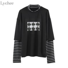 a50b80760 Lychee Spring Autumn Women T Shirt Character Letter Print Stripe Patchwork  Casual Loose Long Sleeve T