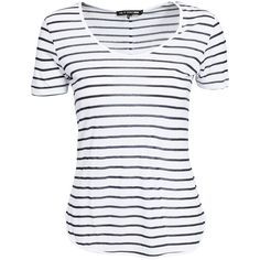 Rag & Bone Aria Stripe Tee ($41) ❤ liked on Polyvore featuring tops, t-shirts, shirts, striped, womens-fashion, t shirt, round neck shirt, striped t shirt, tall shirts and stripe t shirt