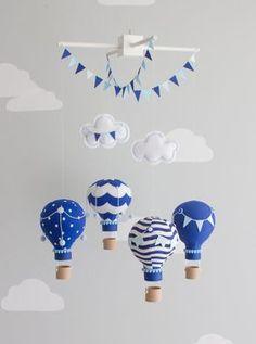 Navy Baby Mobile, Hot Air Balloons, Nursery Decor, Nautical Theme Nursery, i104