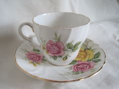 Teacup and Saucer Stanley Bone China Pink and Yellow by GRCBooks, $12.00
