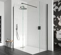 Cohesive Colour Walk In Shower Enclosures, Brass Hinges, Wet Rooms, Safety Glass, Wall Brackets, Contemporary Interior, Glass Panels, Bathroom Interior, Wardrobe Rack