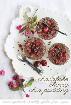Chocolate Cherry Chia Pudding : 5 clean ingredients : sugar-free, gluten-free