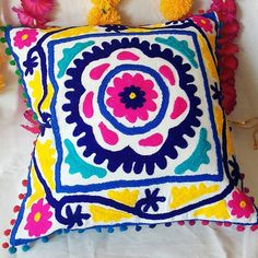 Indian Handmade Suzani Cushion Covers Decorative Pillow Cases Woolen Embroidered By Hands Pom Poms Colorful Vintage Look Square Cushions Indian Pillows, Boho Pillows, Throw Pillows, White Cushion Covers, Cushion Cover Designs, Decorative Pillow Cases, Decorative Cushions, Handmade Cushions, Embroidered Cushions