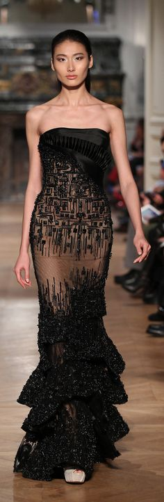 black and caramell evening dress by Tony Ward Spring-Summer 2014