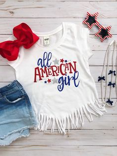 Excited to share this item from my shop: Fourth of July Shirt - of July Shirt - Girls fourth of July Shirt - All American Girl - All American Girl Shirt - Fringe Shirt Fourth Of July Shirts For Kids, 4th Of July Outfits, Shirts For Girls, Kids Shirts, Toddler Outfits, Kids Outfits, Fringe Shirt, July Baby, All American Girl