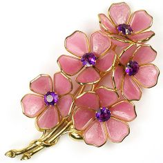 Chanel (unsigned) after Trifari Pink Poured Glass, Gold and Amethysts Five Flower Pin Clip