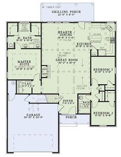 ****************European Style House Plan - 3 Beds 2 Baths 1572 Sq/Ft Plan #17-2453 Floor Plan - Main Floor Plan - Houseplans.com