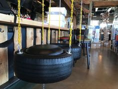 You'll find tire swings and suspended canoes at Camp Social, a new camping-themed restaurant near Seventh Street and Bethany Home Road in Phoenix. Phoenix Restaurants, Tire Swings, Downtown Phoenix, Food Themes, Playground, Camping, Entertaining, Dining, Fun