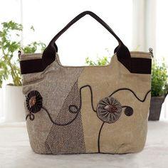 Women Chinese Style Tote Bag Classic Handbag Canvas Shopping Bag