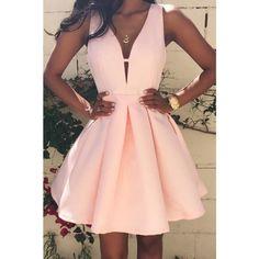 Thefusutan - فستان حفلات و سهرات قصير Sexy Women Deep V-Neck Backless Sleeveless Zipper Pink Dress