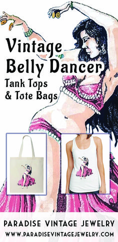 Vintage Belly Dancer Custom Made Tank Tops and Tote Bags. Very Popular! Beautiful Color. On Sale Now at Paradise Vintage Jewelry #bellydance #dance www.paradisevintagejewelry.com