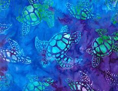 Sea Turtle Fabric | Fabric Material Totally Tropical Sea Turtle Batik Great for Crafts and ...