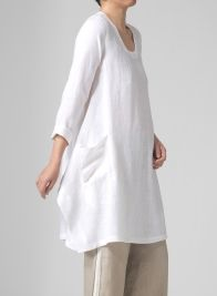 Linen Long Sleeve Top Off White