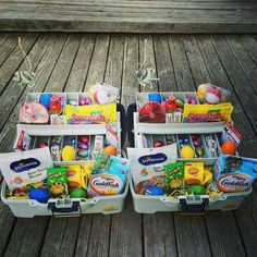 Adorable tackle box Easter baskets!