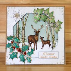 Christmas has arrived at Hobby Art! Introducing 'The Holly & The Ivy' designed by the very talented Sharon Bennett. Clear set contains 13 clear stamps. Overall size of set - x approx. Card by Sally Dodger Fall Cards, Winter Cards, Christmas Cards To Make, Christmas Art, Xmas Cards Handmade, Hexagon Cards, Card Tags, Men's Cards, Christmas Nail Designs