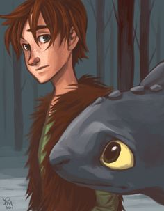 Cool fan art of Hiccup and Toothless.