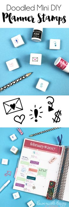 Doodled Mini DIY Planner Stamps. Create the cutest little custom doodled planner stamps with the Silhouette Mint and this step-by-step tutorial!