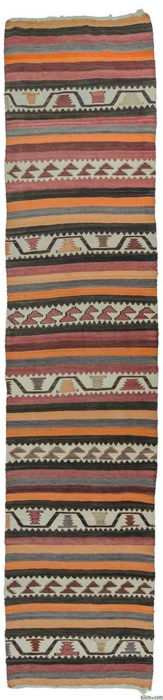 Vintage Turkish kilim runner around 50 years old and in very good condition. (ID: K0009727)
