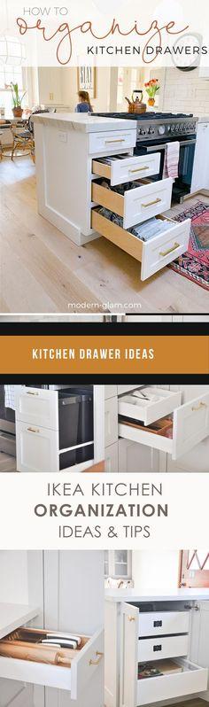 DIY Kitchen Drawer Ideas #diykitchendrawer #drawer Ikea Kitchen Organization, Organizing, Drawer Inspiration, Drawer Design, Kitchen Drawers, Counter Stools, New Kitchen, Cool Kitchens, Diy Home Decor