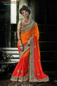 Orange Color Shaded Georgette fabric deigner saree - Indian sarees, Lace border, Engagement, Wedding, Reception by VardhitaSarees on Etsy https://www.etsy.com/listing/235354686/orange-color-shaded-georgette-fabric