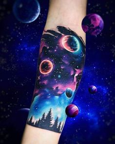 Full Back Tattoos, Full Sleeve Tattoos, Sleeve Tattoos For Women, Arm Tattoos, Body Art Tattoos, Tattoos For Guys, Cool Tattoos, Tattoo Forearm, Galaxy Tattoo Sleeve