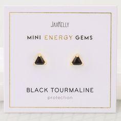 Black Tourmaline - Mini Energy Gems Black Tourmaline, Plate Sets, Handmade Shop, 18k Gold, How To Find Out, Aesthetic Sense, Gems, Place Card Holders, Stud Earrings
