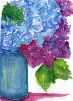 Hydrangeas in Aqua Ball Mason jar watercolor by SharonFosterArt, $25.00