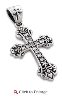 Sterling Silver CZ Cubic Zirconia Cross Pendant