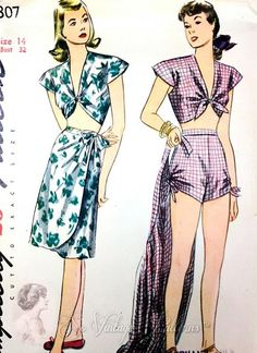 1940s Beachwear Swimsuit Playsuit and Sarong Wrap Skirt Pattern Midriff Front Tie Top, High Waist Shorts Gathered Sides, Slim Skirt  Simplic...