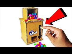 How to make GEMS Dispenser Machine from cardboard🍬 - Tabea Crafts For Teens, Diy For Kids, Crafts To Make, Fun Crafts, Ocean Crafts, Cardboard Box Crafts, Cardboard Toys, Easy Diy Candy, Cool Things To Build
