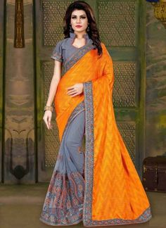 Orange Grey Embroidery Work Silk Net Designer Fancy Half Party Wear Sarees http://www.angelnx.com/Sarees/Designer-Sarees