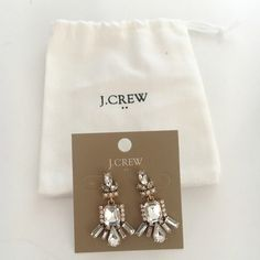 J.Crew Diamond Chandelier Earrings Gorgeous J.Crew diamond chandelier earrings with flat back. Perfect for dressing up an outfit. Includes cloth bag. J. Crew Jewelry Earrings