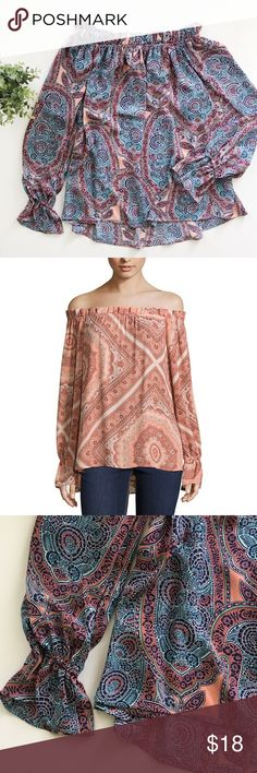 """Belle & Sky Paisley Off the Shoulder Ruffle Top Belle & Sky paisley off the shoulder top with ruffle detailing size small. • Fits oversized, loose fit • 22-24"""" Long, 19"""" bust • Not sheer • No stains or holes, smoke and pet free home! Offers welcomed! belle & sky Tops Blouses"""