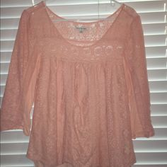 Peach lace American Eagle Shirt Light pink shirt worn once. lace type material on front and sleeves. American Eagle Outfitters Tops Blouses