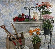 A beautiful display of miniature flowers from the florist by Margaret
