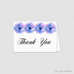 Printable Floral Bridal Shower Thank You Card - Bridal Shower Thank You Card - Floral Bridal Shower - Purple Floral 0009P