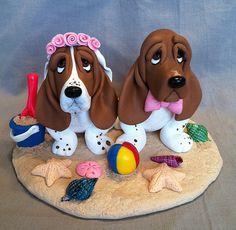 Basset Hound Dog Wedding Cake Topper