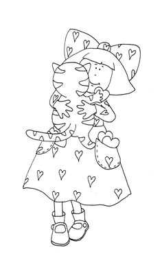 Free Dearie Dolls Digi Stamps: Valentine Girl with Kitty