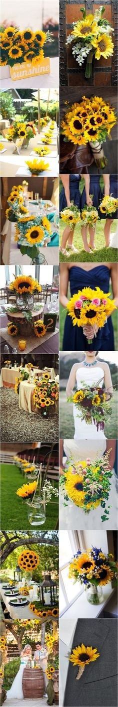 Flowers, flowers & more flowers! We love the idea of using sunflowers for a summer wedding!