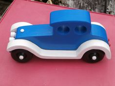 Handmade Wooden Toy Car - Old Fashion Style Touring Auto - Wooden Car - Wood Toy - Imagination Toy Push Pull - Classic Touring Car - Blue #odinstoyfactory #tallahassee #florida #handmade #handcrafted #woodentoys #woodentoy #blueGmaGpaCrafts Etsy Old Fashion