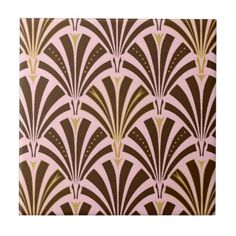 Art Deco fan pattern - chocolate on pink Tile, for bath surround?