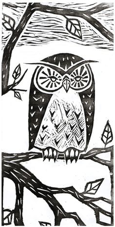 'Owl' by Vera Johansen- I'm guessing it is a print of a carving.