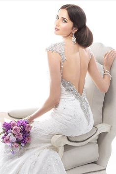 Check out the glitz on this gown! Loving all of the detail on the back { @Maggie Sottero }