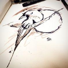 Passando o tempo no trabalho sketch rápido #sketch #draw #desenho #crow #corvo #raven #lcjunior #art #arte #moon #watercolor #aquarela #tattoo #tatuagem #watercolortattoo #illuatration #ilustração