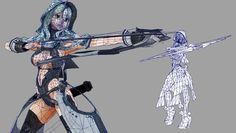 3d game character topology anime