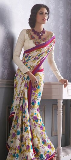 White Floral Saree in Georgette fabric and pink and purple border