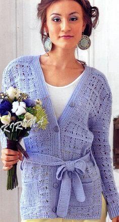 Delicadezas en crochet Gabriela: Moldes chaqueta vestido
