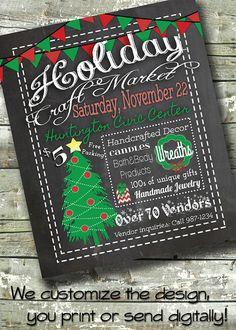 Blackboard Holiday Craft Fair ~ Christmas Bazaar Market ~ 5x7 Invite ~ 8.5x11 Flyer ~ 11x14 Poster ~ 300 dpi Digital Invitation